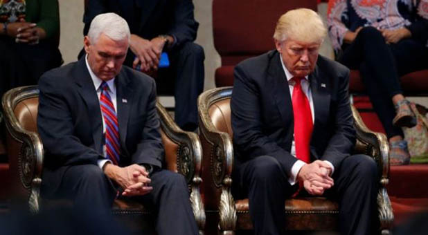 Trump and Pence Praying