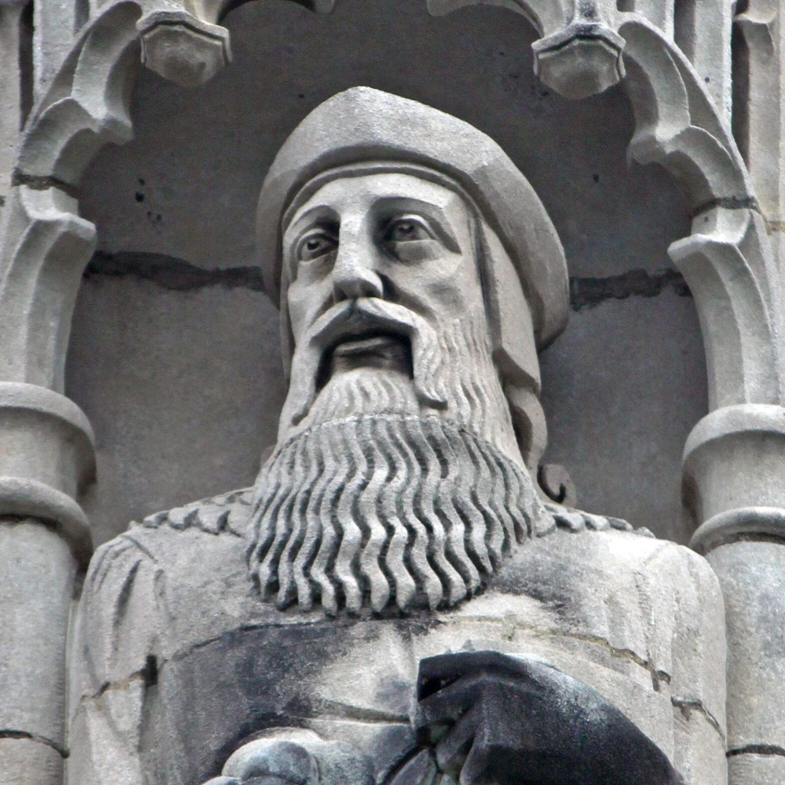 Exterior sculpture of English Reformer Thomas Cranmer in Christ Church Cranbrook in Bloomfield Hills, Michigan.