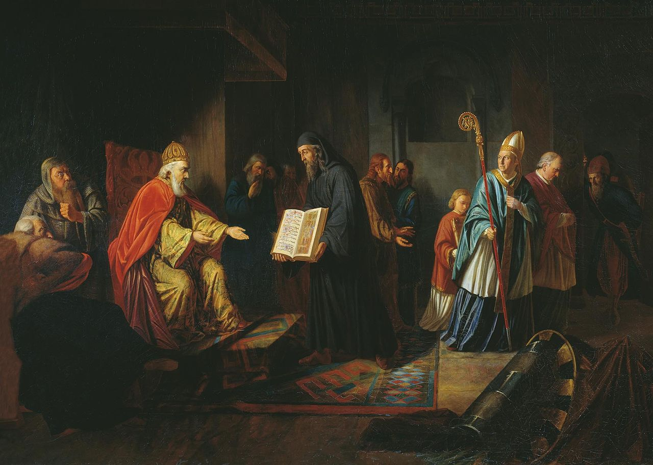 Ivan Eggink's painting represents Vladimir listening to the Orthodox priests, while the papal envoy stands aside in discontent.