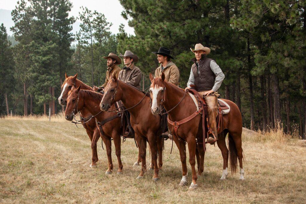 Yellowstone Series - the Dutton men and Rip Wheeler (far left) on horseback
